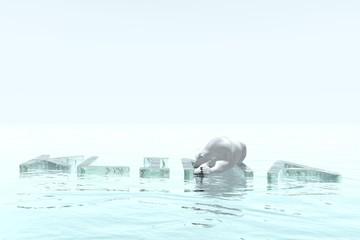 Eisbär treibt im Meer auf Eisscholle