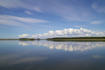 Reflection of blue sky with white clouds in water