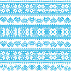 Winter, Christmas seamless pixelated blue pattern with hearts