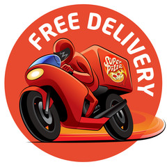 Pizza delivery. Vector illustration on a white backgroud