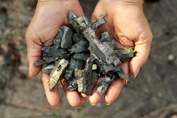 fragments of mortars in women's hands