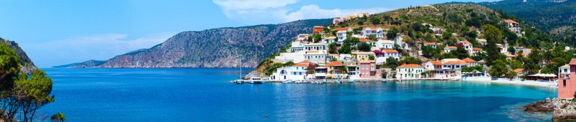 Summer view of Assos village (Greece,  Kefalonia). Panorama.