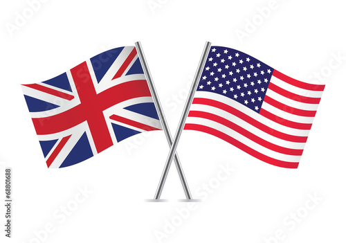 British and American flags. Vector illustration. - 68801688