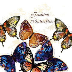 Fashion vector pattern with butterflies