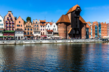 Picturesque scenery in the Old Town of Gdansk in Poland