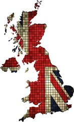 United Kingdom map grunge mosaic