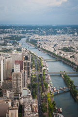 View from the Eiffel Tower to Paris and the river Seine