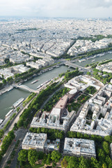 View from the Eiffel Tower to Paris and the river Seine and bri