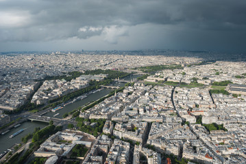 View from the Eiffel Tower to Paris and the river Seine  in a th