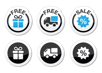 Free gift, free delivery, sale labels set