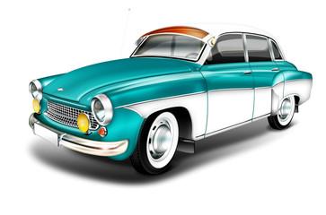 DDR Oldtimer aus den 60er Jahren - Wartburg 311 grün-weiss