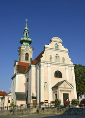 The church on the main square of medieval Hainburg an der Donau