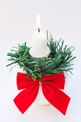 Christmas Candle Holder Isolated on White