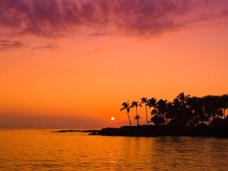 ハワイ島の夕陽