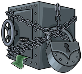 Illustration of a safe with money