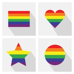 Pride flag stripe color different icons and long shadows