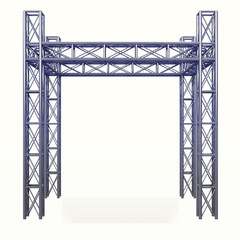 3D steel metal construction development on white