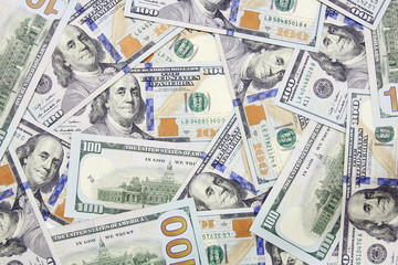 one hundred dollars banknotes background (new 2013 edition)