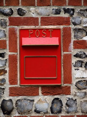 RED POSTBOX MAILBOX IN WALL