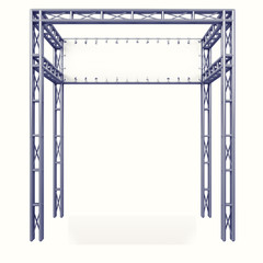 metal construction framework with white board back