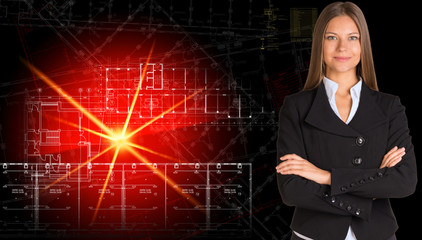 Businesswoman in suit. Glowing architectural drawing
