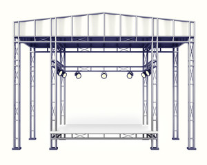 covered steel stage construction on white isolated