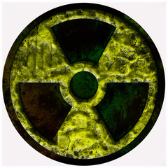 radiation, nuclear sign, symbol isolated over white