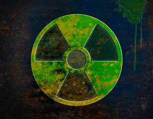 radiation, radioactive sign, symbol isolated over rusty metal
