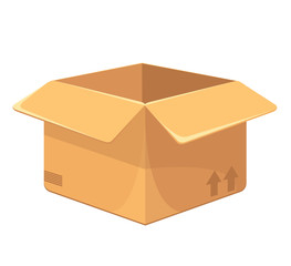 Vector Opened Carton Box Flat Icon