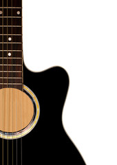 Detail of guitar on white background