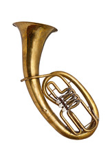 Old  baritone horn isolated on white