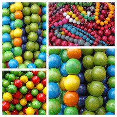 colorful wooden necklaces pattern