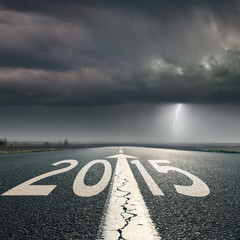 Driving on road towards the storm to 2015
