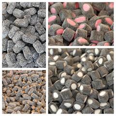 Black jelly liquorice bonbons pattern