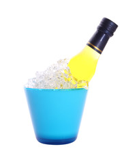 Bottle of liquor in blue ice bucket on white background.