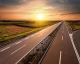 Highway at sunset, near Belgrade in Serbia
