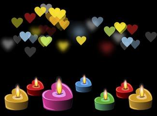 heart candles in the night