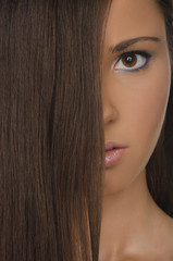 portrait of brunette woman with straight hair