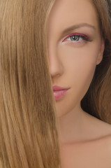 portrait of beautiful woman with straight hair