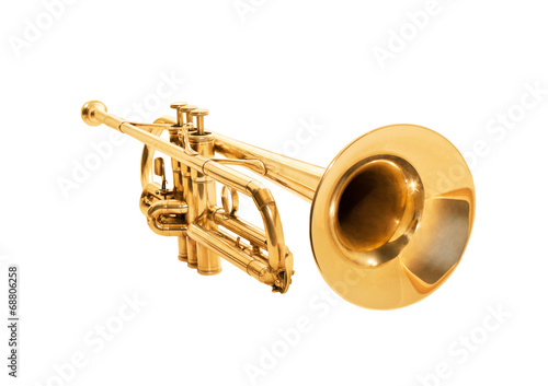 Trumpet isolated on a white - 68806258