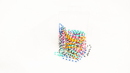 Collection of paper clips in stripe and various color