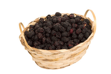 Basket Of Berries Isolated On White