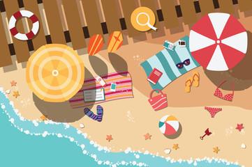 Summer beach in flat design, beach items, vector illustration