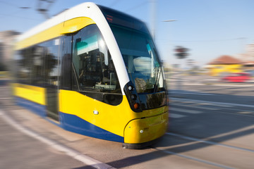 Tram in motion blur on the street