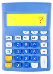 Calculator with question mark on display on white background