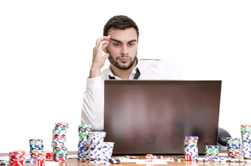 Decision online poker isolated white