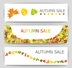 Colorful autumn sale banners illustration collection