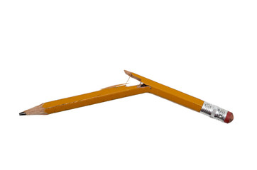 Pencil Broken Isolated On White Horizontal Shot