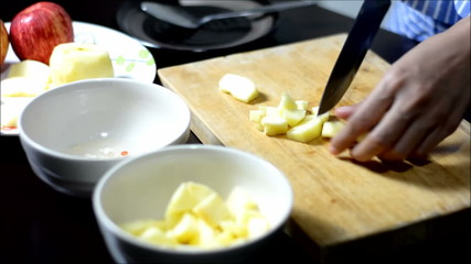 time lapse hand Slicing apple