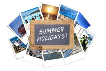 Schiefertafel mit Text, Summer Holidays, auf Urlaubsfotos